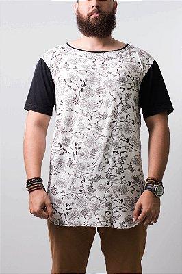 camiseta oversized floral manga black