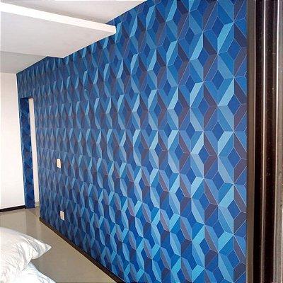 PAPEL DE PAREDE GEOMÉTRICO 3D AZUL 156-3074