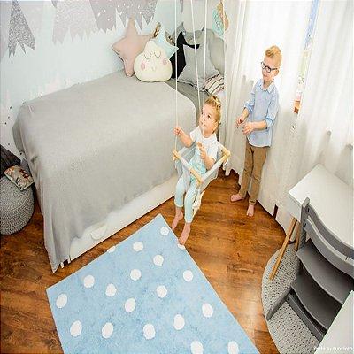 Tapete Infantil 1,20 X 1,60 Lorena Canals Topos Azul-Branco