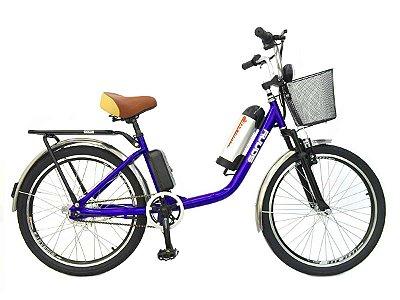 Bicicleta Elétrica Sonny 350w com Bateria de Lítio CESTA - Azul Escuro