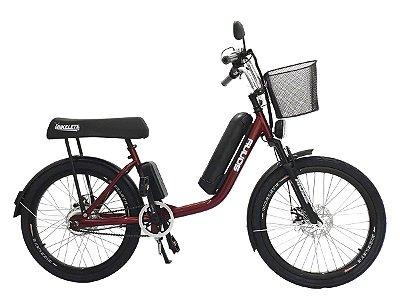 Bicicleta Elétrica Sonny 350w com Bateria de Lítio Banco XR - Vermelho