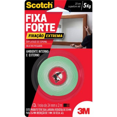 Fita Dupla Face Fixa Forte Extrema 24mm x 2m Scotch 3M
