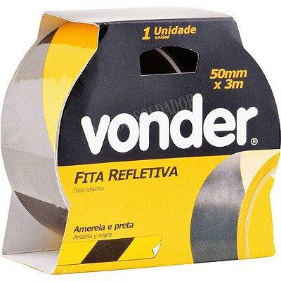 Fita Refletiva 50mm X 3M Amarela/Preta Vonder