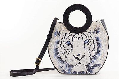 Bolsa AANIS Arte Mid Tigre Branco Preta