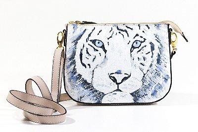 Bolsa AANIS Arte Mini Tigre Branco Nude