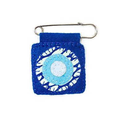 Berloque Feltro Mandala Azul Felicidade
