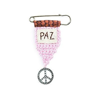 Berloque Crochê Rosa e Bordado Paz Pequeno