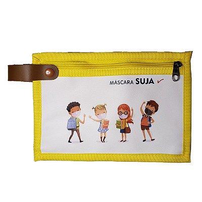 Porta Máscaras Dupla Face Kids Amarelo