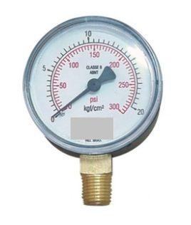 Manômetro Reto Cx Aço carbono 2.1/2 Escala 0-20 kgf/cm2 x 300 lbs Rosca BSP