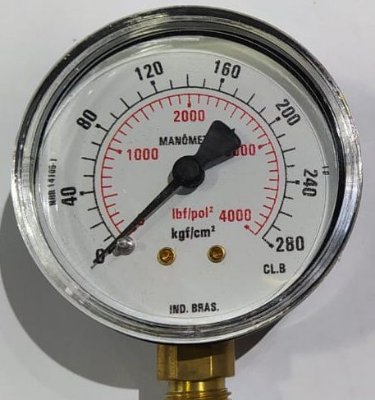 Manômetro Reto Cx Aço carbono 2.1/2 escala 0-280 x 4000 Lbs