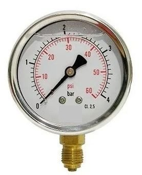 Manômetro Reto Cx inox 2.1/2 Escala 0-4 x 60 lbs c/ glicerina