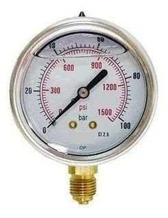 Manômetro Reto Cx inox 0-100 x 1500 lbs c/glicerina
