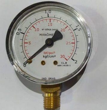 Manômetro Reto Cx Aço carbono, internos latão 4'' 2.1/2 Escala 0-2 x 30 lbs