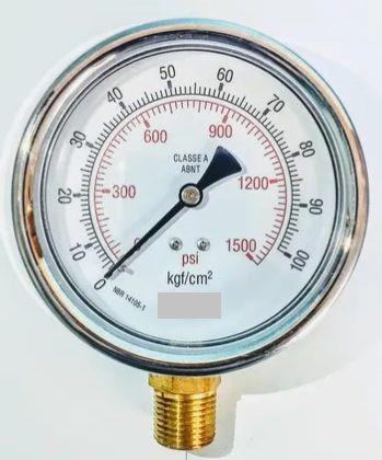 Manômetro Reto Cx Aço carbono, internos latão 4'' Escala 0-100 x 1500 lbs