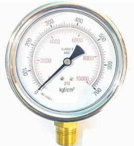 Manômetro Reto Cx Aço carbono, internos latão 4'' Escala 0-700 x 10000 c/glicerina