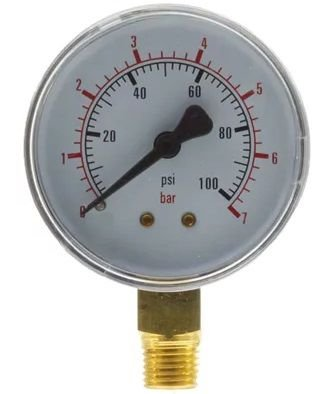Manômetro Reto Cx Aço carbono, internos latão 6'' Escala 0-7 x 100 lbs