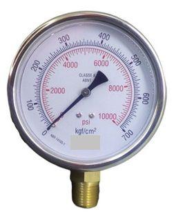 Manômetro Reto Cx Aço carbono, internos latão 6'' Escala 0-700 x 10000