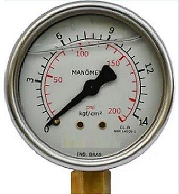 Manômetro Reto Cx Aço carbono, internos latão 6'' Escala 0-14 x 200 c/glicerina bsp