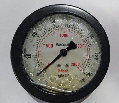 Manômetro Reto Cx Aço carbono, internos latão 6'' Escala 0-140 x 2000 c/glicerina bsp