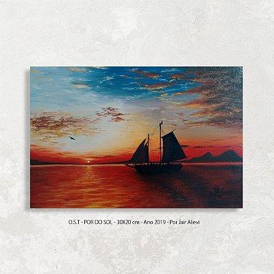 Quadro pintura Pôr do Sol com barco - Tinta Óleo Sobre Tela 30x20cm