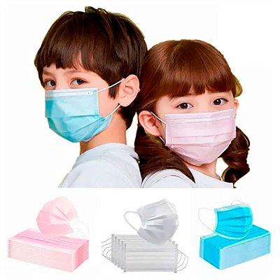 Mascara Cirúrgica Infantil Tripla C/ 50 unid. - VITTA KIDS Branca