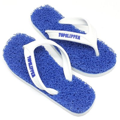 Chinelo Funcional Anti Stress Massageador Azul com Branco