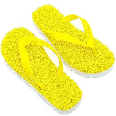 Chinelo Funcional Anti Stress Massageador Amarelo com Branco