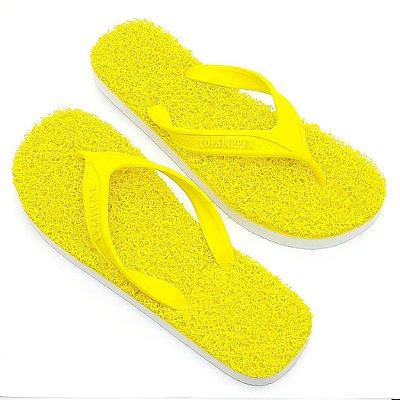 Chinelo Funcional Anti Stress Massageador Amarelo