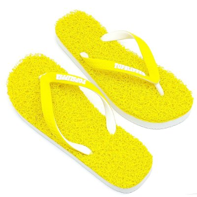 Chinelo Funcional Anti Stress Massageador Amarelo com Branco