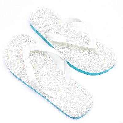 Chinelo Funcional Anti Stress Massageador Branco com Verde