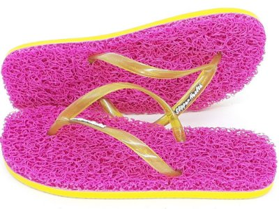 Chinelo Funcional Anti Stress de Capacho Tira Slim Amarela Lima  Lisa com Glitter