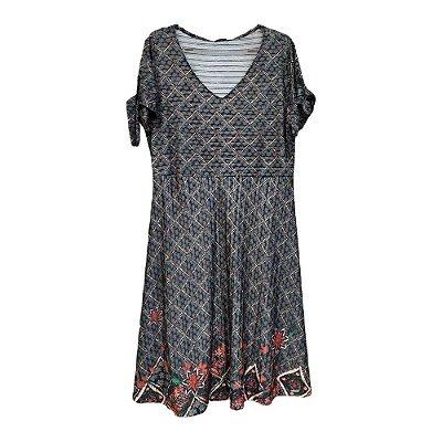 Vestido Estampado com Decote V - Mirasul