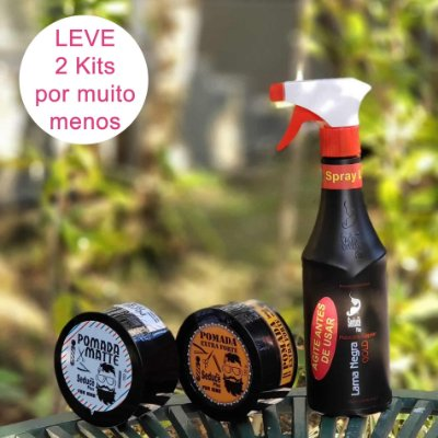 2 KITs PROGRESSIVA MASCULINA EM SPRAY 500ml + 1 POMADA MATE + POMADA MODELADORA