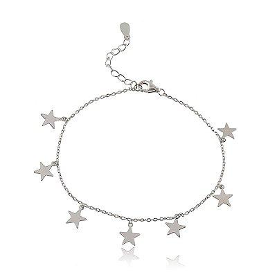 Pulseira Prata 925 Estrelas Chapa Lisa