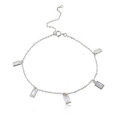 Pulseira Prata 925 com Ponto de Zircônia Retangular