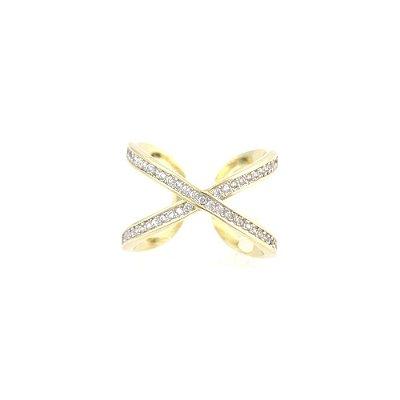 Anel Folheado Em Forma de X Cravejado com Zircônias
