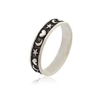 Anel Prata 925 Lua com Estrelas e Corações