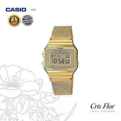 Relógio Casio Dourado Pulseira de Malha A700WMG-9ADF