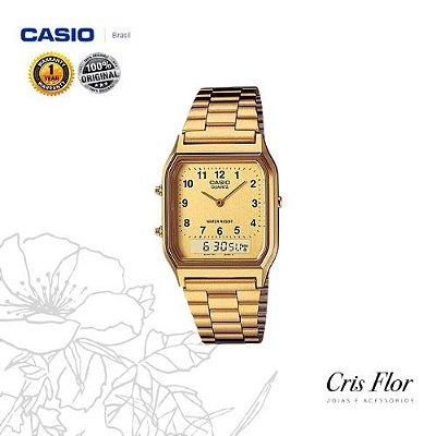Relógio Casio Analógico Numeral Dourado AQ-230GA-9BMQ