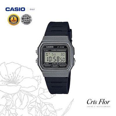 Relógio Casio Pulseira Borracha Caixa Prateada F-91WM-1B