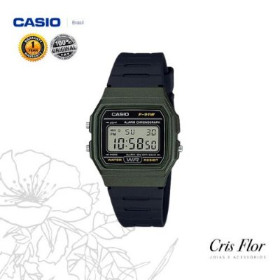Relógio Casio Pulseira Borracha Caixa Verde F-91WM-3A
