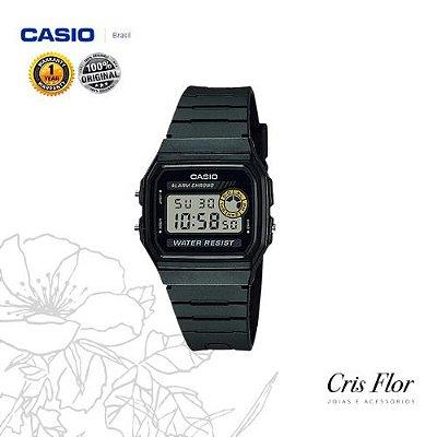 Relógio Casio Pulseira Borracha Caixa Preta F-94WA-8