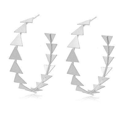 Brinco Argola Ródio Branco Toda de Triângulos