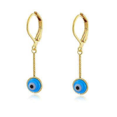 Brinco Argola Folheado Base com Olho Grego Resina Azul Pendurado
