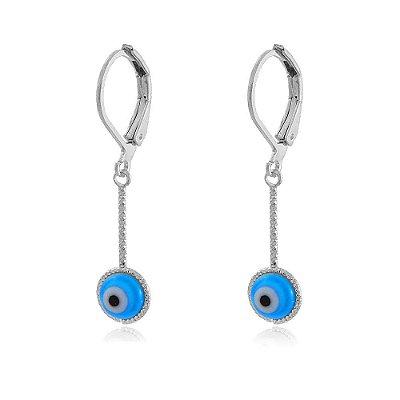 Brinco Argola Ródio Branco Base com Olho Grego Resina Azul Pendurado