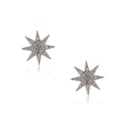 Brinco Folheado Estrela 8 Pontas Grande com Zircônia