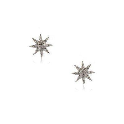 Brinco Folheado Estrela 8 Pontas Pequeno com Zircônia