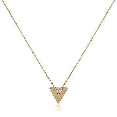 Colar Folheado Triangulo em V com Detalhe em Zircônia