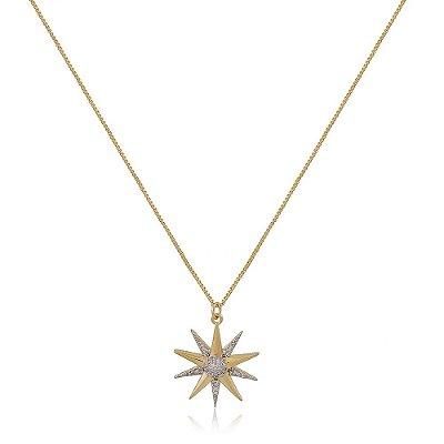 Colar Folheado Estrela 10 Pontas Grande com Zircônia