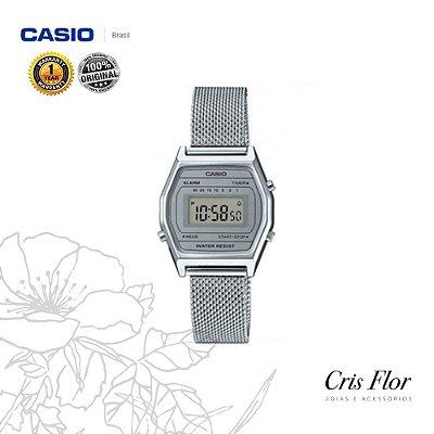 Relógio Casio Mini Prata Pulseira de Malha LA690WEM-7DF